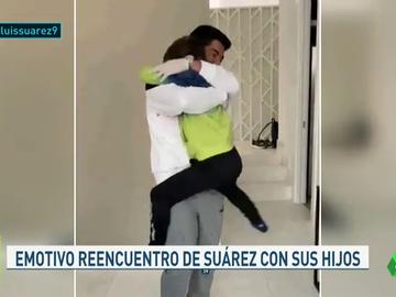 El emotivo reencuentro de Luis Suárez con sus hijos tras superar el coronavirus