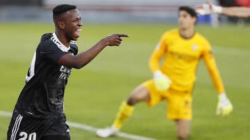 Vinicius celebra un gol con el Real Madrid