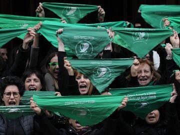 Protesta a favor de la legalización del aborto en Argentina