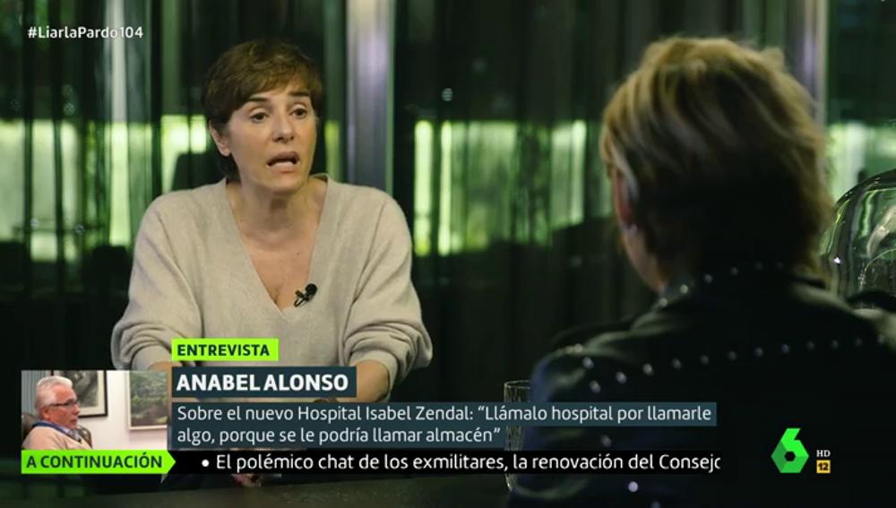 """Anabel Alonso: """"Al Zendal se le llama hospital por llamarle algo, porque se le podría llamar almacén"""""""