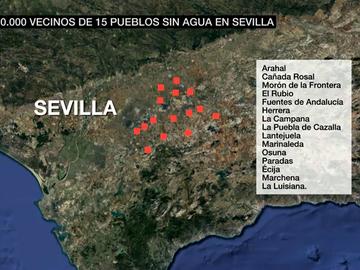 Más de 180.000 vecinos de 15 pueblos sevillanos, sin agua potable tras el hallazgo de benceno en los filtros