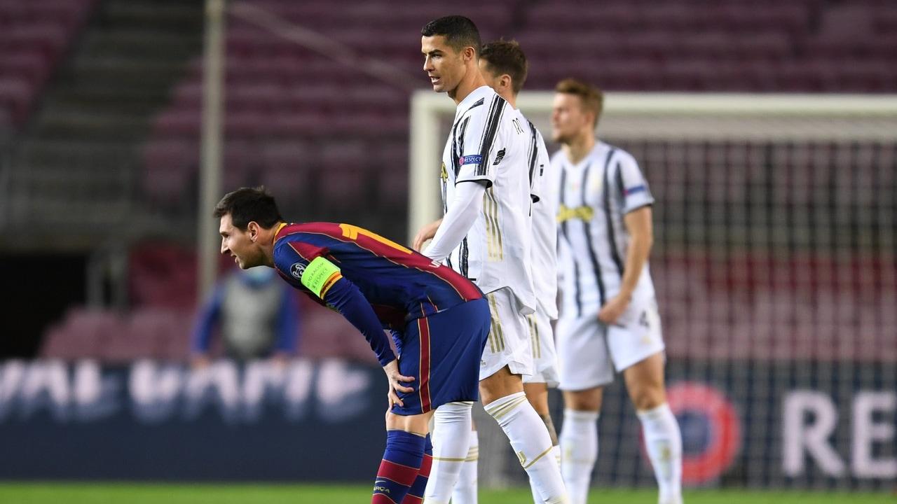 Cristiano Ronaldo y Leo Messi, en el partido de Champions