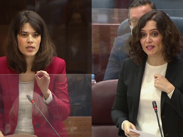 Isa Serra e Isabel Díaz Ayuso en la Asamblea de Madrid