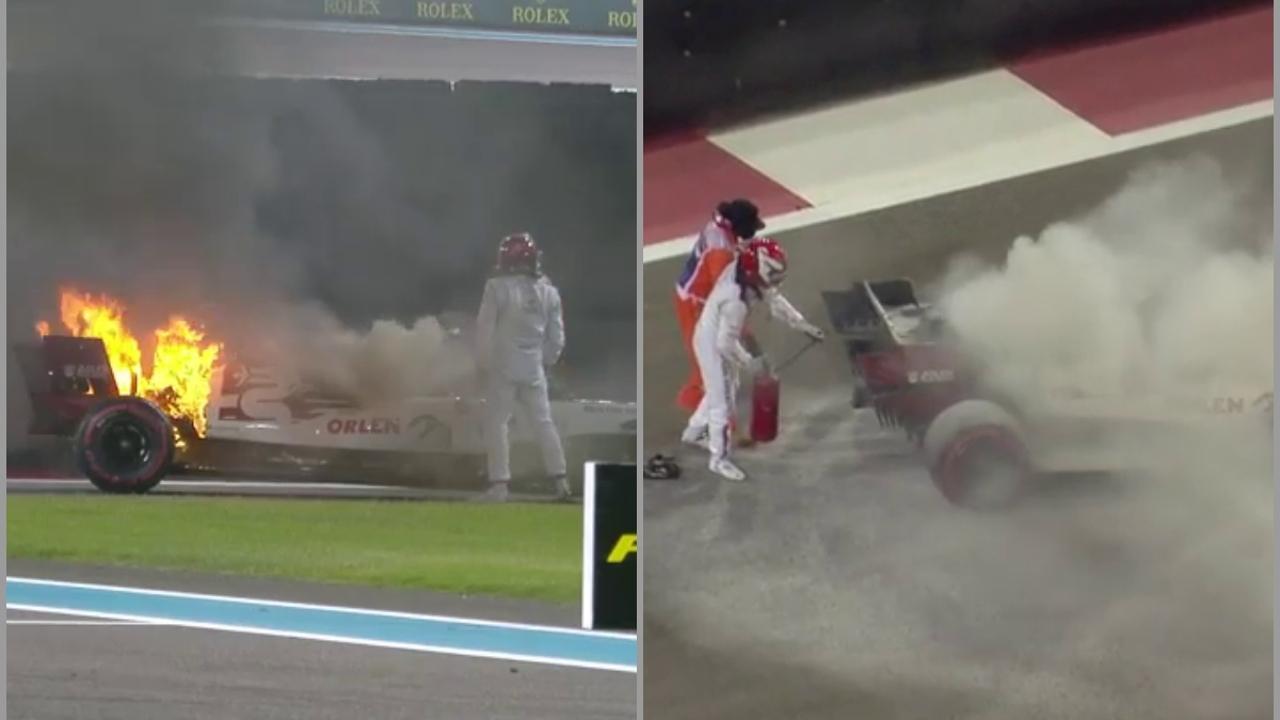 Raikkonen apaga un incendio en su coche
