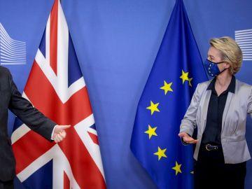 La presidenta de la Comisión Europea, Von der Leyen, y el primer ministro británico, Johnson (Archivo)