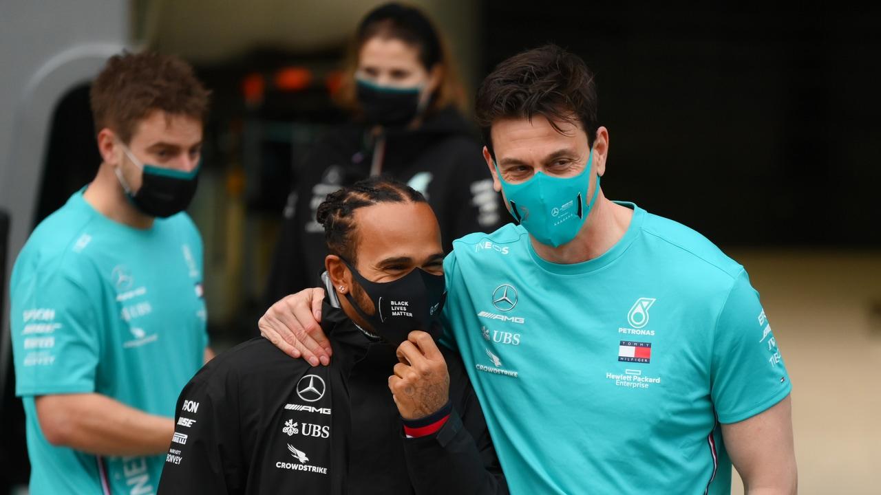 Hamilton y Toto en el GP de Turquía tras lograr el séptimo título del británico