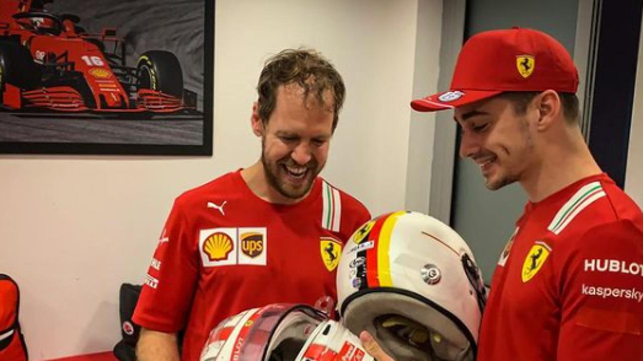 Vettel y Leclerc intercambian cascos tras el GP de Abu Dabi