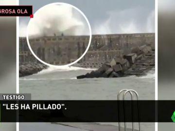 Un remero del club Zarauz, herido tras ser engullido por una ola gigante en el Espigón de Orio
