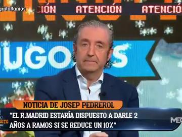 """Noticia de Pedrerol: """"El Madrid está dispuesto a renovar a Sergio Ramos sin bajarle el sueldo"""""""