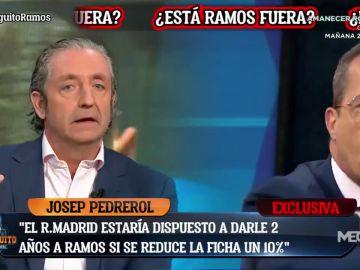 """Tenso cara a cara entre Josep Pedrerol y Cristóbal Soria en 'El Chiringuito' por Ramos: """"Quién te dice que tu precio es más de 12..."""""""