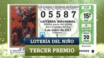 05587, el tercer premio de la Lotería del Niño 2021
