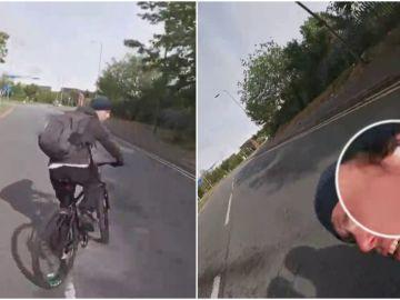 Un ciclista choca con una moto