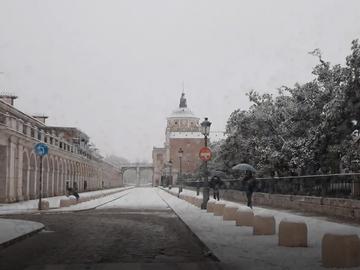 Así se ha visto la nieve en Aranjuez esta mañana