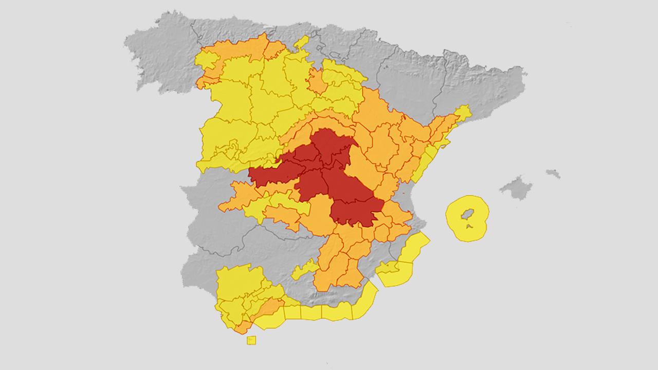 ¿Cuáles son las zonas más en riesgo por el temporal? Consúltalo en este mapa de la Aemet