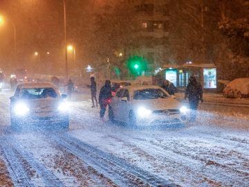 Fuerte nevada en Madrid