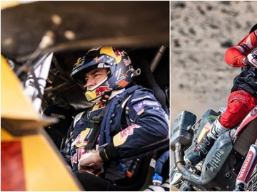Carlos Sainz y Joan Barreda en el Dakar 2021