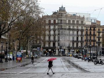 Aspecto de la Plaza de Cataluña de Barcelona