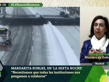 """Robles detalla """"el gran reto"""" de la UME tras las intensas nevadas: """"Hay que trabajar sobre las placas de hielo"""""""