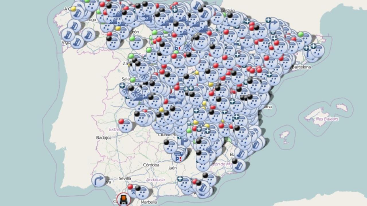 Imagen del mapa de España con las incidencias en las carreteras