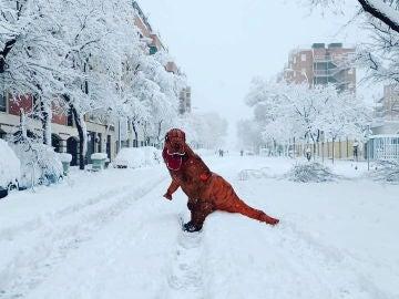 Una persona disfrazada de dinosaurio pasea por las calles nevadas de Madrid