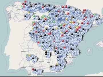Imagen del mapa interactivo de la DGT sobre el estado de las carreteras en España
