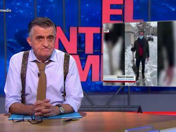La reacción de Wyoming al ver los vídeos virales de Pablo Casado e Ignacio Aguado retirando nieve con palas