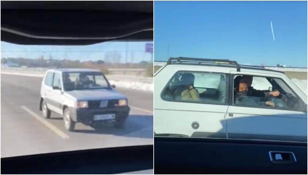 Los jugadores del Atlético en un Fiat Panda