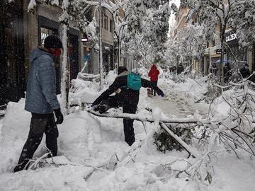 Una céntrica calle madrileña tras el paso de 'Filomena'