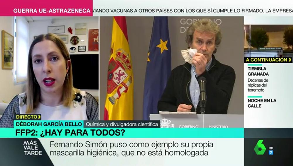 """Déborah García desmonta a Simón por poner como ejemplo una mascarilla no homologada: """"Está tirando por tierra todo el trabajo"""""""