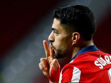 Luis Suárez, celebrando un segundo gol