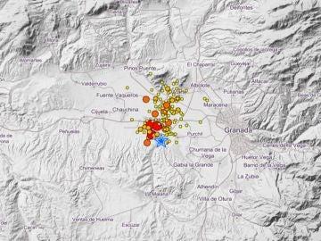 Localización de los terremotos registrados en los últimos días en Granada