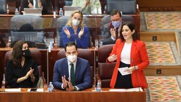 La presidenta de la Comunidad de Madrid, Isabel Díaz Ayuso, en la Asamblea de Madrid