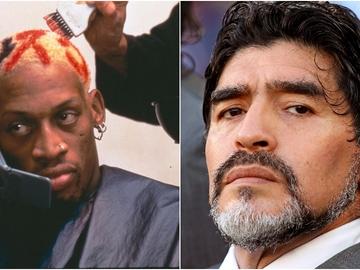 Dennis Rodman y Diego Maradona