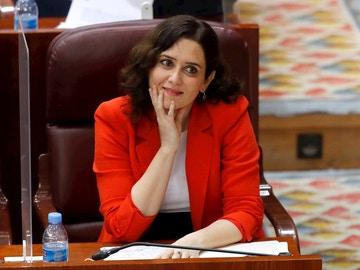 Ayuso durante el pleno en la Asamblea de Madrid