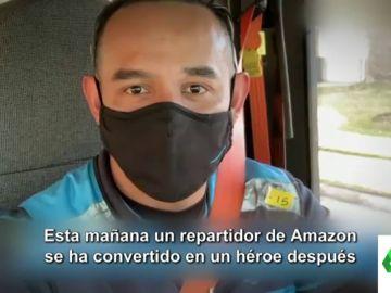 Un repartidor de Amazon rescata a un bebé que un ladrón de coches había abandonado en mitad de la carretera