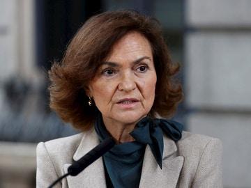 Carmen Calvo tras el pleno extraordinario en el Congreso de los Diputados