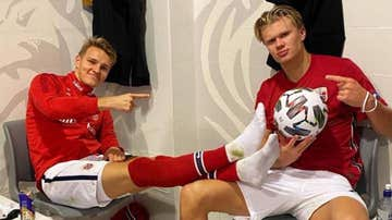 Martin Odegaard y Erling Haaland