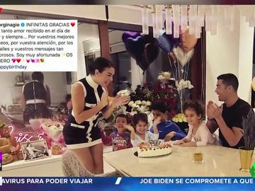 Ramos de flores, globos y cena en familia: las imágenes del cumple de Georgina Rodríguez junto a Cristiano Ronaldo