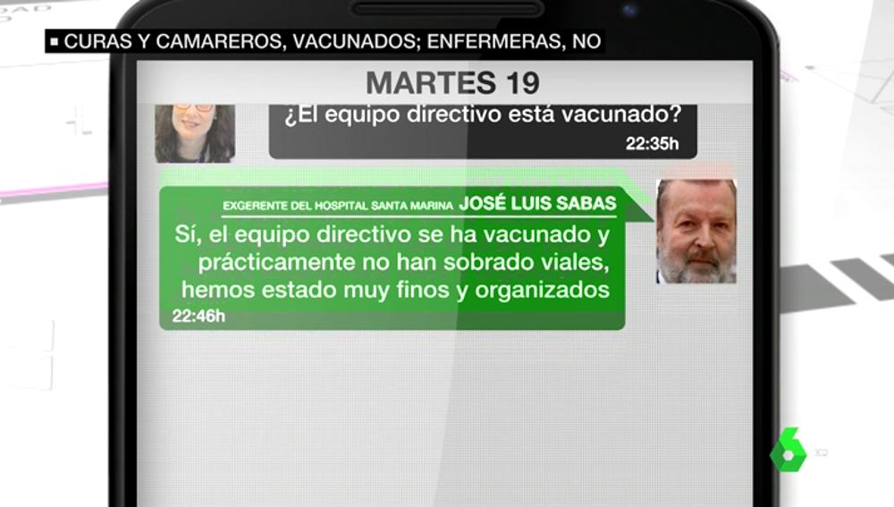 Los mensajes del exgerente del hospital vasco Santa Marina