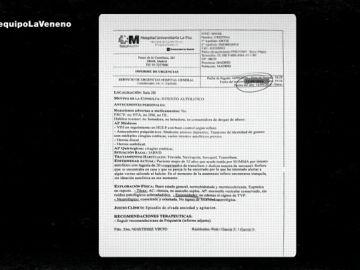 Documento del hospital sobre La Veneno