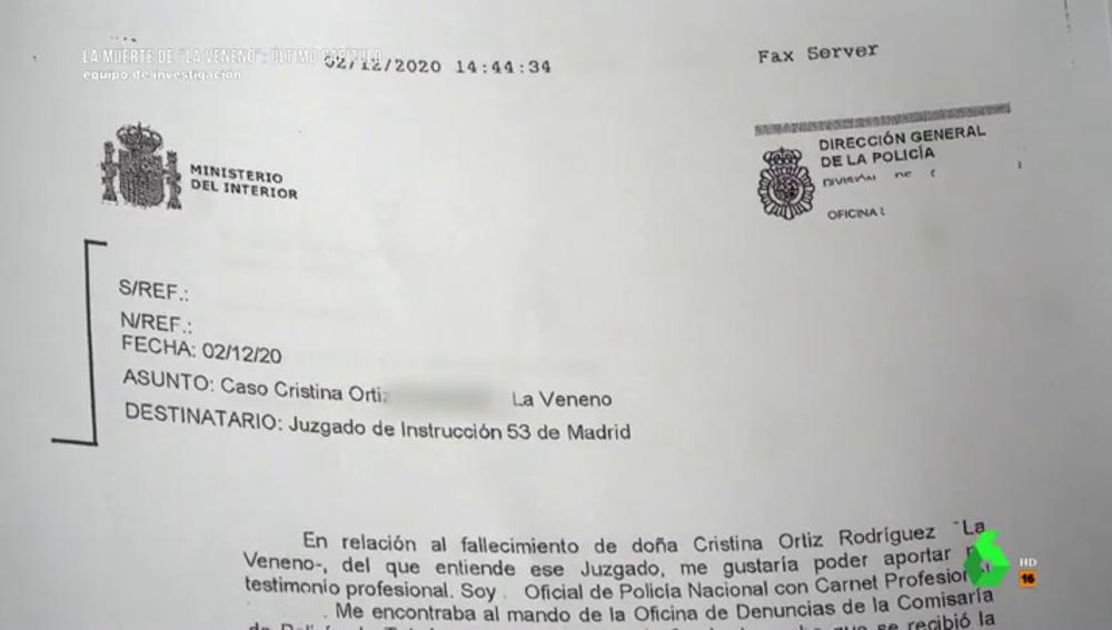 Imagen de un testimonio inédito sobre la muerte de La Veneno
