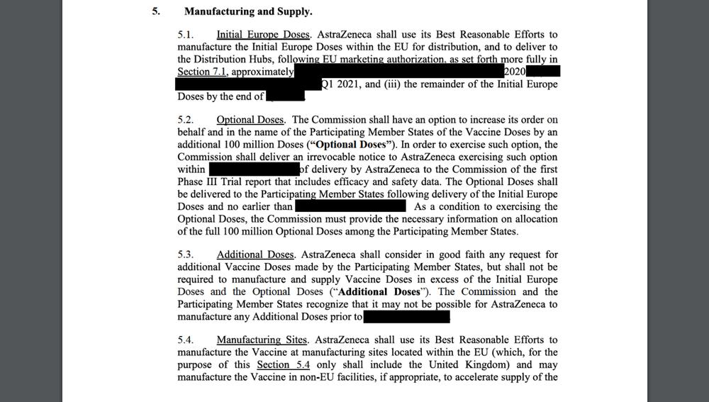 Documento del contrato de AstraZeneca y la UE