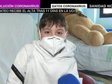"""Mateo sale del hospital tras 11 días en la UCI por COVID: """"Gracias a todos los que me han estado cuidando"""""""