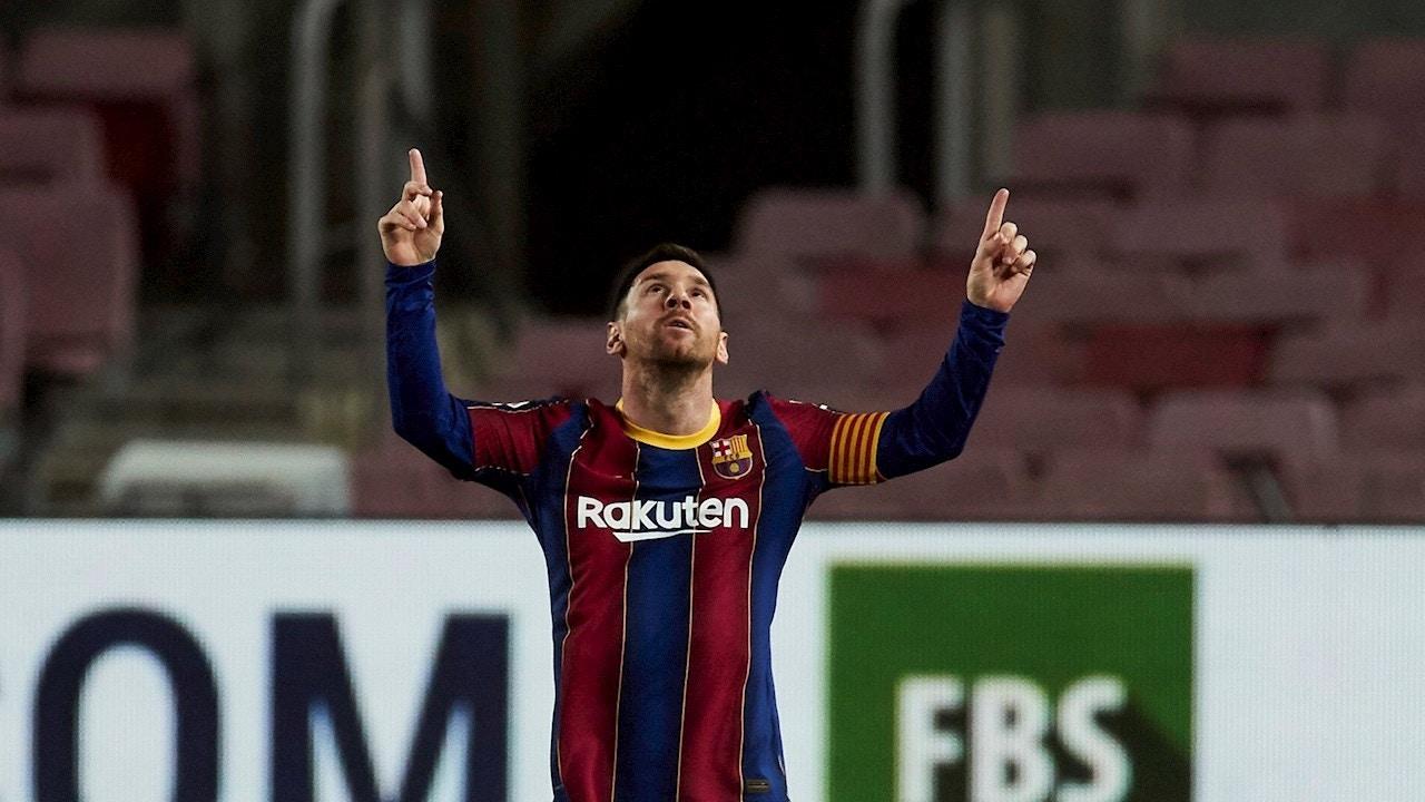 Messi celebra un gol con el Barça