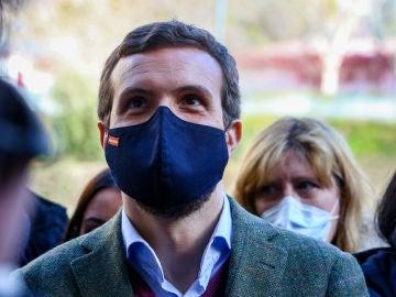 El presidente del Partido Popular, Pablo Casado, en Madrid