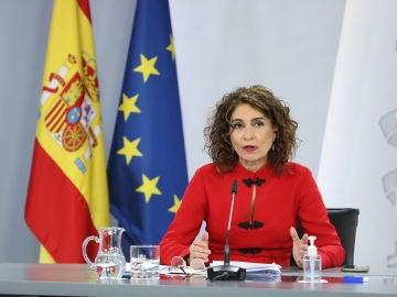 a portavoz del Gobierno, María Jesús Montero, en la rueda de prensa posterior al Consejo de Ministros