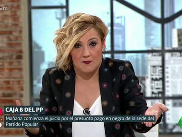 """Cristina Pardo le recuerda a Casado que lleva """"toda la vida"""" en el PP: """"Creció a los pechos de Aguirre, se casó con Aznar y se reprodujo con Rajoy"""""""