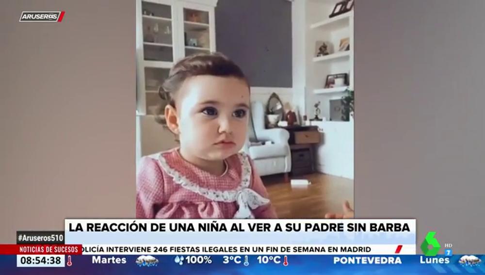 La tierna reacción de una niña al ver a su padre sin barba por primera vez