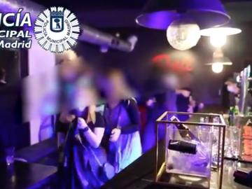 Intervención de la Policía Municipal de Madrid en una fiesta ilegal