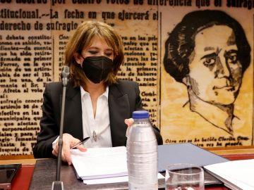 La fiscal general del Estado, Dolores Delgado, en la Comisión de Justicia del Senado.